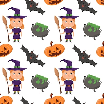 Halloween holiday seamless pattern with pumpkin broom witch cauldron bat  on white background