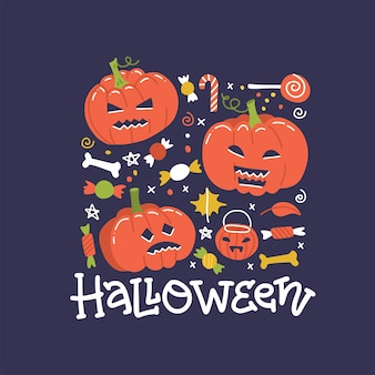 ハロウィーンの休日のお菓子とカボチャの正方形バナーデザイン。手描きのレタリングとフラットのイラスト。