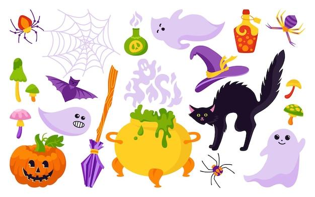 할로윈 휴일 상징적 인 요소 만화 세트 고양이 호박 모자 거미줄 마술 노파 마법사 빗자루