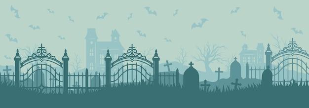 삭제 표시가 날아다니는 박쥐가 있는 묘지의 할로윈 가로 배너 유령의 집은 빈티지 스타일의 마른 나무