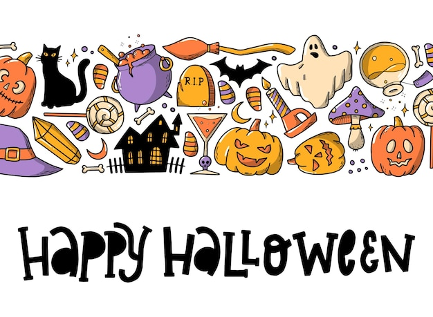 Halloween horizontal banner with doodles and quote