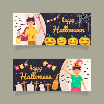 Halloween horizontal banners flat design