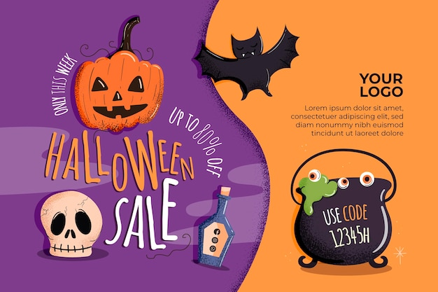 Halloween horizontal sale banner