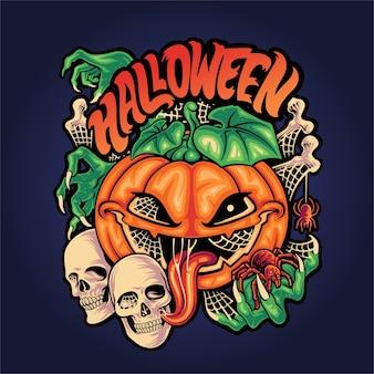 Хэллоуин ужас элемент иллюстрации