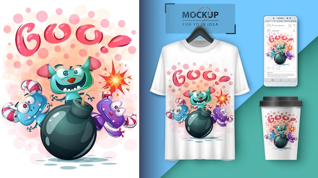 Tシャツとマーチャンダイジングのハロウィーンホラーイラスト
