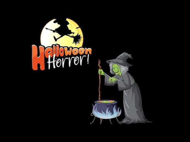 Логотип ужасов хэллоуина с мультипликационным персонажем старой ведьмы