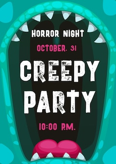 Halloween horror night party poster with frame of screaming monster mouth