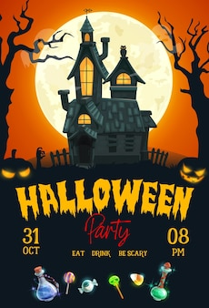 Плакат партии ночи ужаса хеллоуина с домом с привидениями, страшными тыквами и луной.