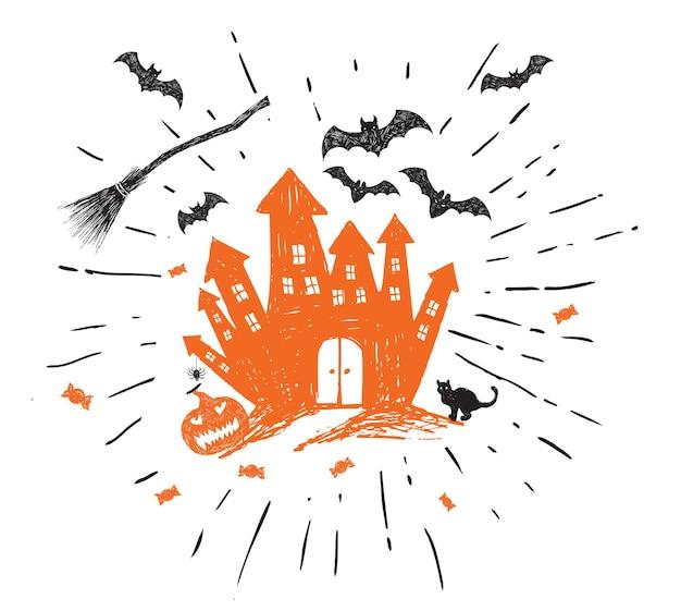 Halloween horror night vector background hand drawn illustration