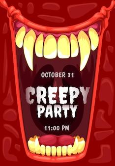 Halloween horror party invitation, vampire mouth