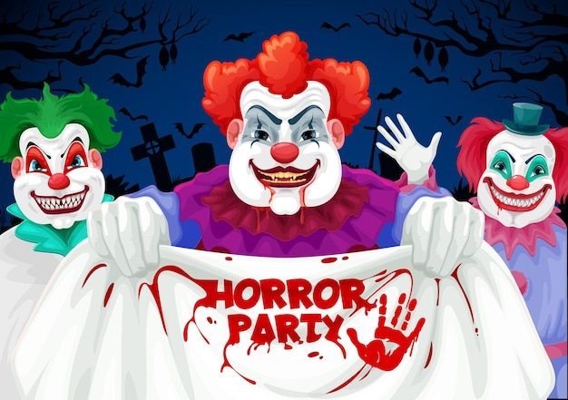 Halloween horror party with scary clowns, jokers