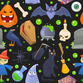 Halloween horror pattern, cartoon pumpkin  illustration. spooky holiday seamless background, scary ghost celebration .
