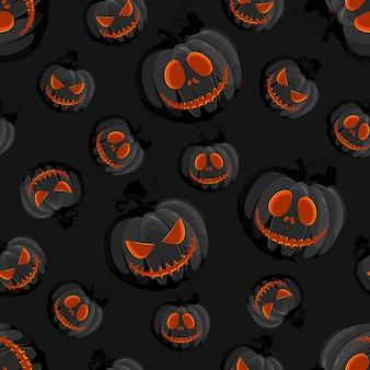 Halloween horror pumpkin jack-o lantern seamless pattern