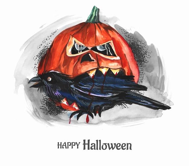 Zucche horror di halloween con sfondo corvo