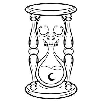 Эскиз хэллоуина песочные часы для раскраски