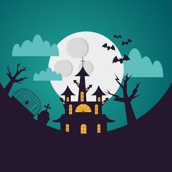 밤 디자인, 무서운 테마에 묘지에서 할로윈 집