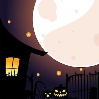 月のデザイン、休日、怖いテーマイラストの前にハロウィーンの家とカボチャの漫画