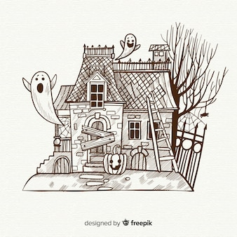 Halloween house background in hand drawn style
