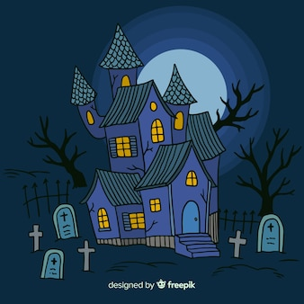 Halloween house background with cemetery in hand drawn style
