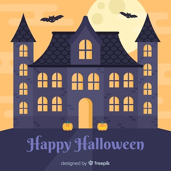 Halloween house background with full moon