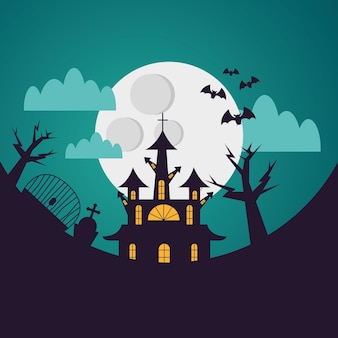 Halloween house and cemetery at night, holiday and scary illustration