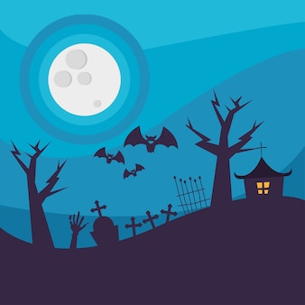 Halloween house in cemetery with trees at night design, scary theme