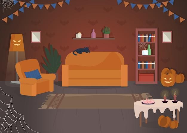 할로윈 집 장식 세미 평면 그림입니다. 전통적인 휴일 축하 장소. 호박 조명. 집에서 게임을 속이거나 대우하십시오. 상업용 축제 2d 만화 인테리어