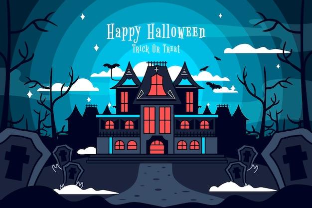 Illustrazione di design piatto casa di halloween