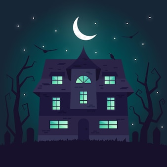 Halloween house in flat design