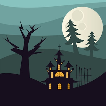Halloween house and pine trees at night design, scary theme