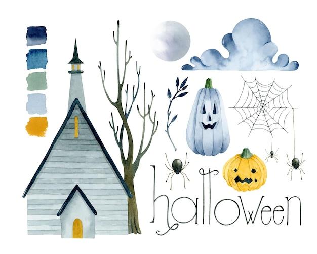 Набор акварельных элементов дома хэллоуина