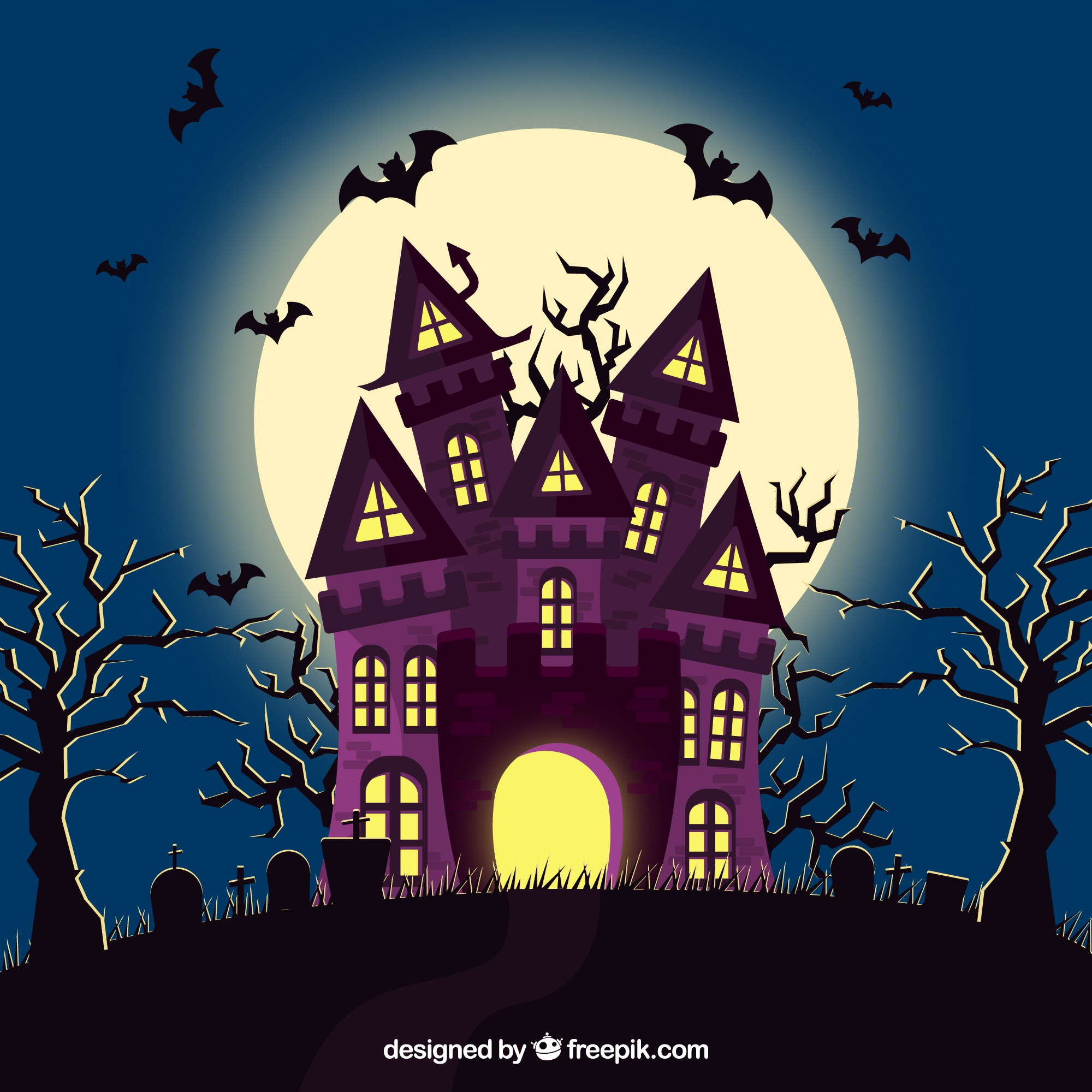 Halloween house with bats and cemetery