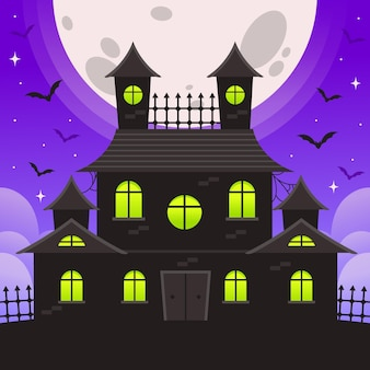 Halloween house with bats