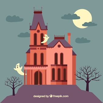 Halloween house with flat design