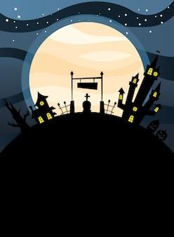 밤 디자인, 무서운 테마 묘지에서 할로윈 하우스
