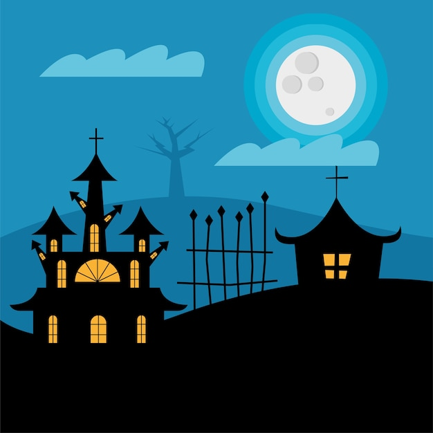 Halloween houses with gate at night design, scary theme