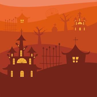 Halloween houses with gate on orange background design, scary theme
