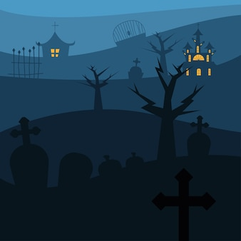 Halloween houses with trees at cemetery design, scary theme