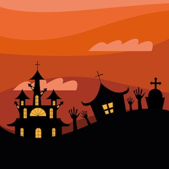 Halloween houses with zombie hands on orange background design, scary theme