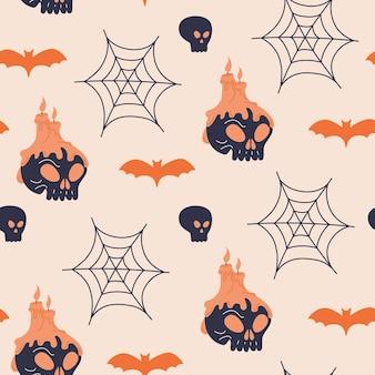 할로윈 인간의 두개골과 촛불 완벽 한 패턴입니다. 귀여운 으스스한 거미줄과 박쥐 프린트 디자인. 낙서 플랫 만화 스타일의 소름 끼치는 벡터 섬유 벽지. 무서운 휴가, 밝은 배경 템플릿