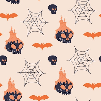 Halloween human skull and candles seamless pattern. cute spooky spider web and bat print design. creepy vector textile wallpaper in doodle flat cartoon style. scary holiday, light background template