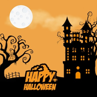 Halloween hunted tree and home