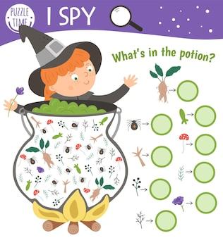 Хэллоуин я шпионская игра для детей. поиск и подсчет активности для дошкольников с ведьмами, котлом и ингредиентами для зелий. веселая осенняя распечатка для детей.