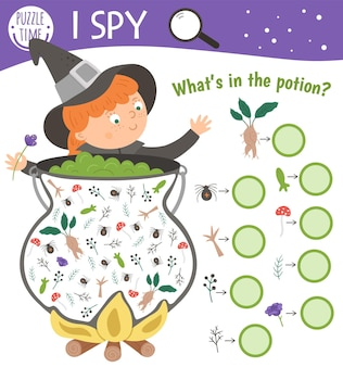 Halloween i spy game for kids. searching and counting activity for preschool children with witch, cauldron and potion ingredients. funny autumn printable worksheet for kids.