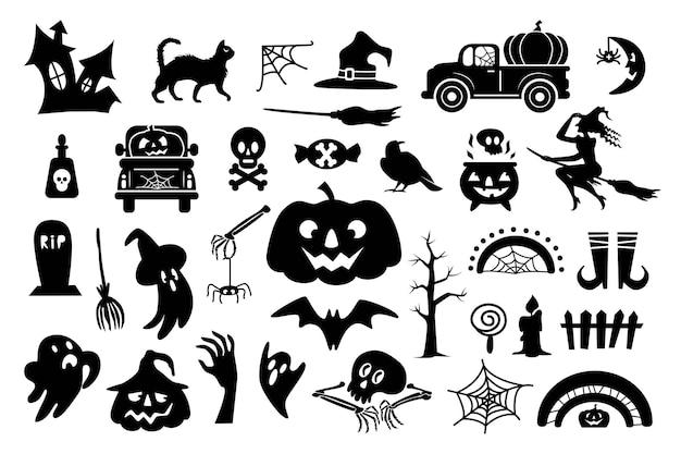 Набор иконок хэллоуин с символом праздника для празднования, изолированные на белом фоне