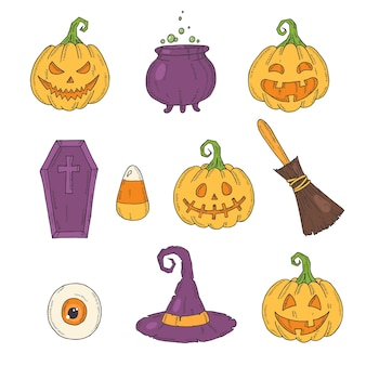 Halloween icons color set