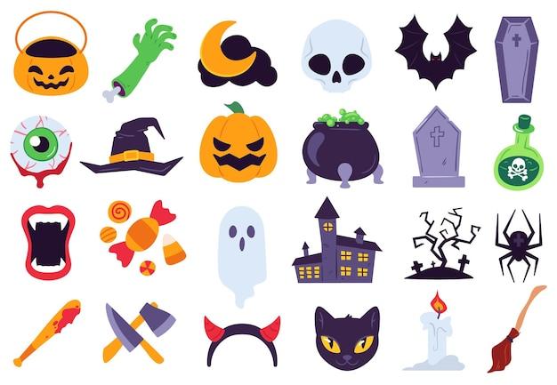 할로윈 아이콘입니다. 휴일 기호, 달과 거미, 호박, 유령 및 박쥐. 사탕, 두개골과 묘비, 양초, 빗자루 평면 벡터 세트. 칼, 피 묻은 박쥐와 같은 공포 이벤트를 위한 으스스한 장식