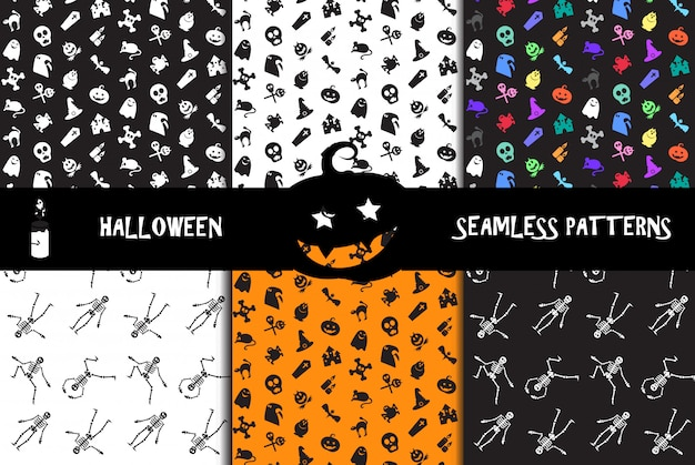 Halloween icons seamless patterns set