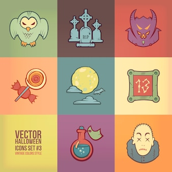 Halloween  icons set. vintage colors style