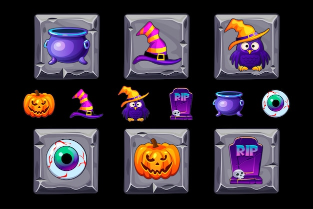 Halloween icons on stone square. halloween style icon set